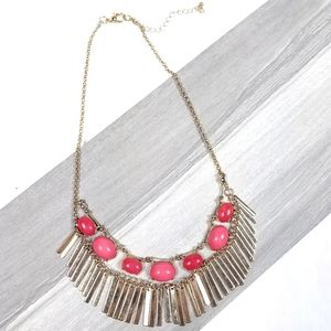 Pink & Coral Beaded Statement Necklace